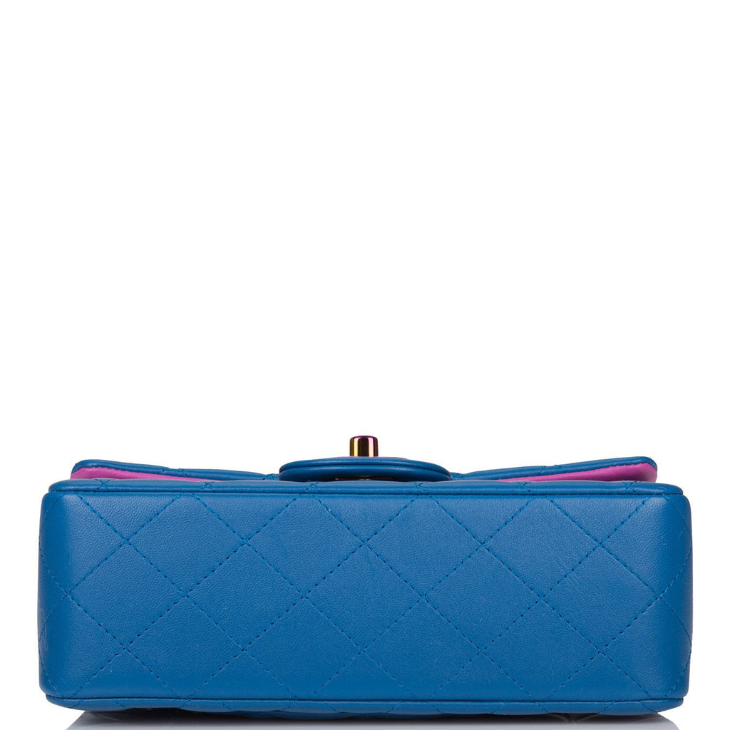 Chanel Dark Blue Quilted Lambskin Rectangular Mini Classic Flap Bag Rainbow Hardware