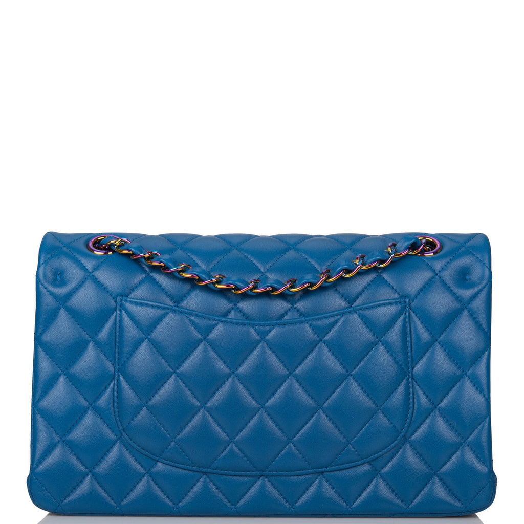 Chanel Dark Blue Quilted Lambskin Medium Classic Double Flap Bag Rainbow Hardware