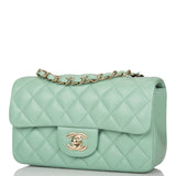 Chanel Light Green Quilted Lambskin Rectangular Mini Classic Flap Bag Light Gold Hardware
