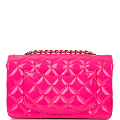 Chanel Pink Quilted Patent Rectangular Mini Classic Flap Bag Light Gold Hardware