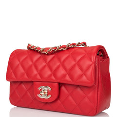 Chanel Red Quilted Lambskin Rectangular Mini Classic Flap Bag Light Gold Hardware