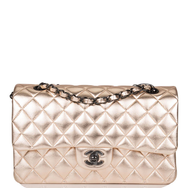 Chanel Metallic Gold Quilted Lambskin Medium Classic Double Flap Bag Black Hardware