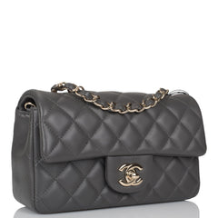Chanel Dark Grey Quilted Lambskin Rectangular Mini Classic Flap Bag Light Gold Hardware