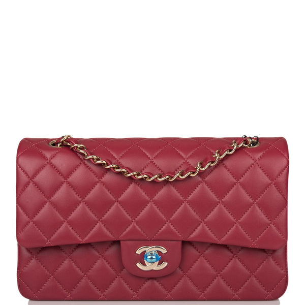 Chanel Burgundy Quilted Lambskin Medium Classic Double Flap Bag Light Gold Hardware