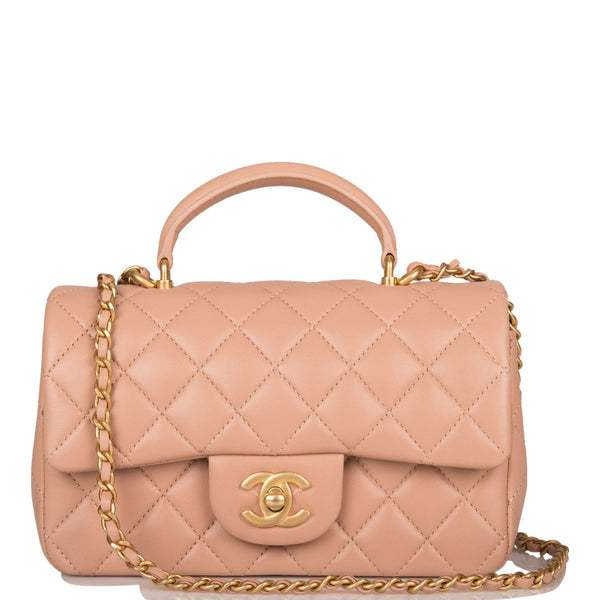 Chanel Beige Quilted Lambskin Rectangular Mini Flap Bag with Top Handle Antique Gold Hardware