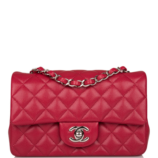 Chanel Red Quilted Caviar Rectangular Mini Classic Flap Bag Silver Hardware