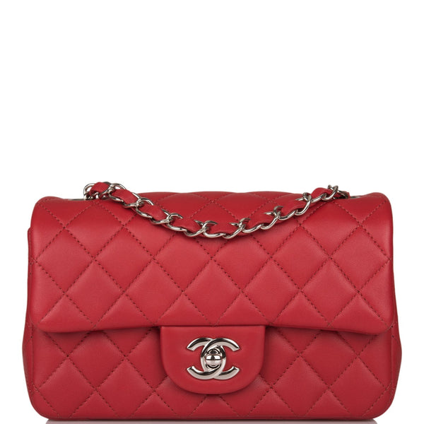 Chanel Red Quilted Lambskin Rectangular Mini Classic Flap Bag Silver Hardware