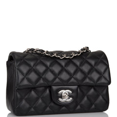 Chanel Black Quilted Lambskin Rectangular Mini Classic Flap Bag Silver Hardware