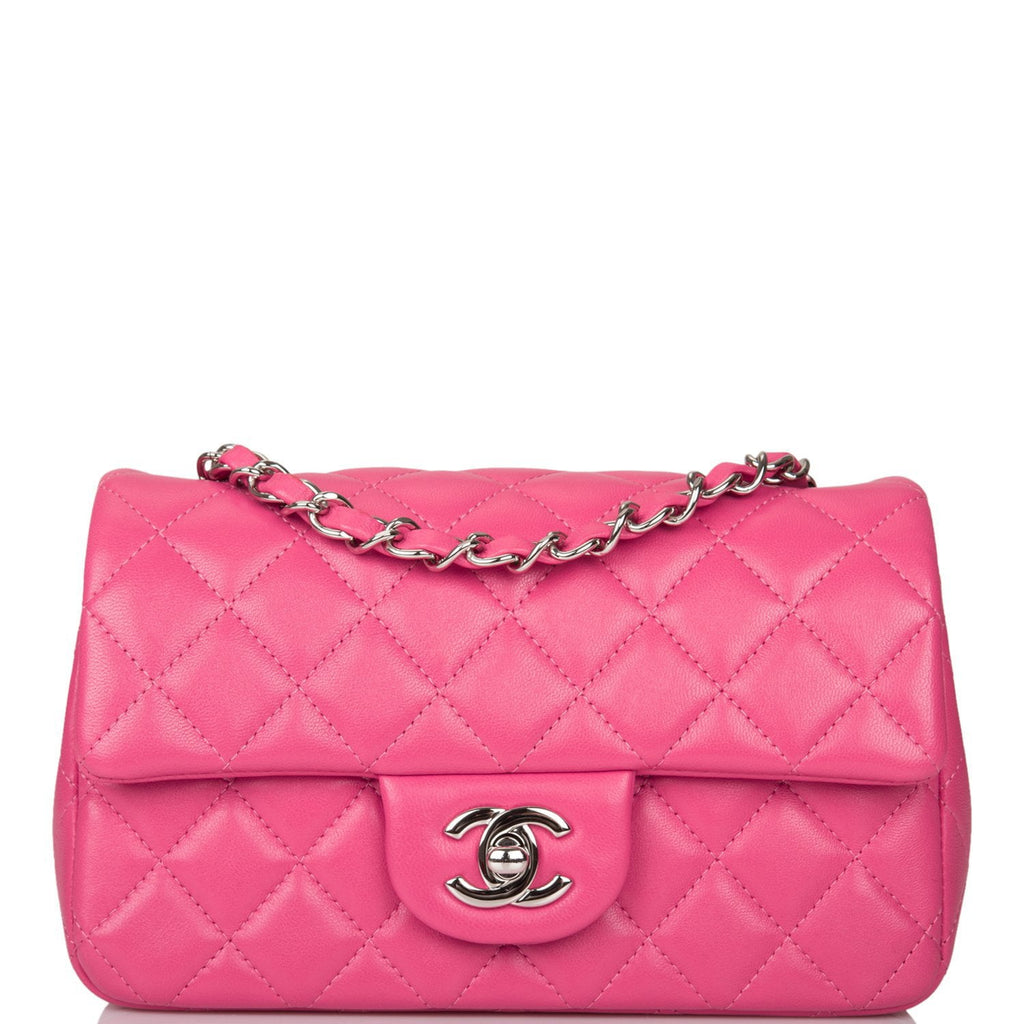Chanel Pink Quilted Lambskin Rectangular Mini Classic Flap Bag Silver Hardware