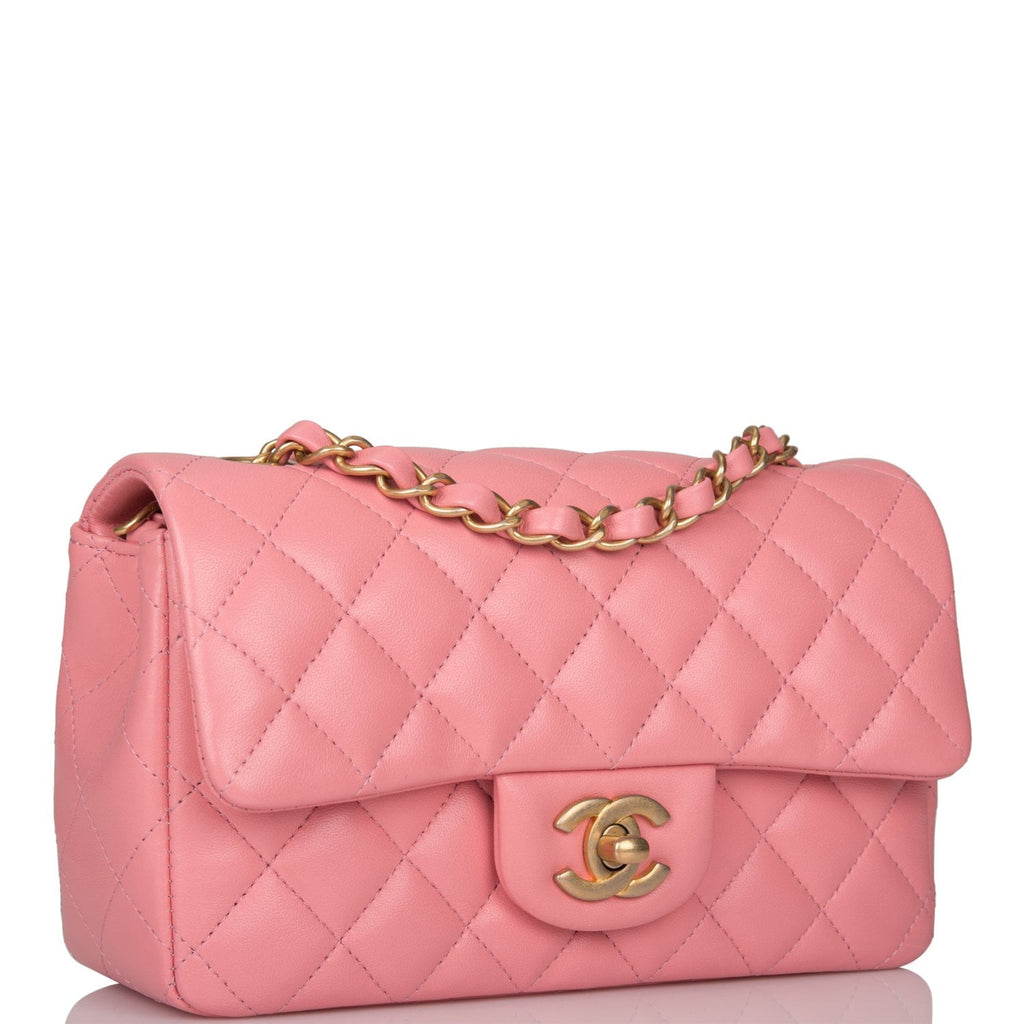 Chanel Pink Quilted Lambskin Rectangular Mini Classic Flap Bag Antique Gold Hardware