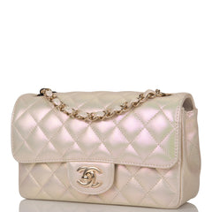 Chanel Ivory Iridescent Quilted Lambskin Rectangular Mini Classic Flap Bag Light Gold Hardware