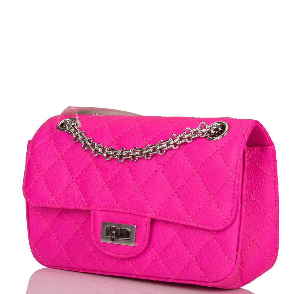 Chanel Pink Quilted Goatskin Mini Reissue 2.55 Flap Bag Silver Hardware