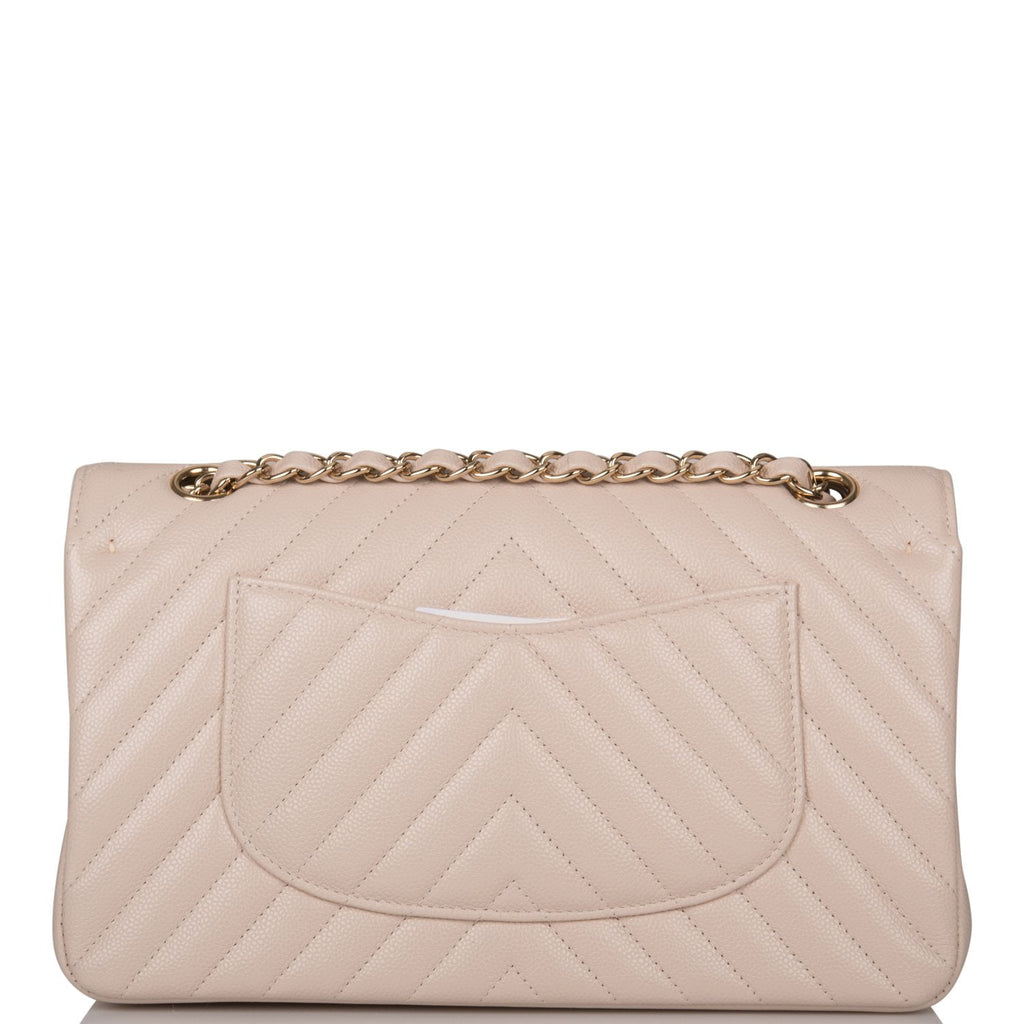 Chanel Shiny Beige Chevron Caviar Medium Classic Double Flap Bag Light Gold Hardware