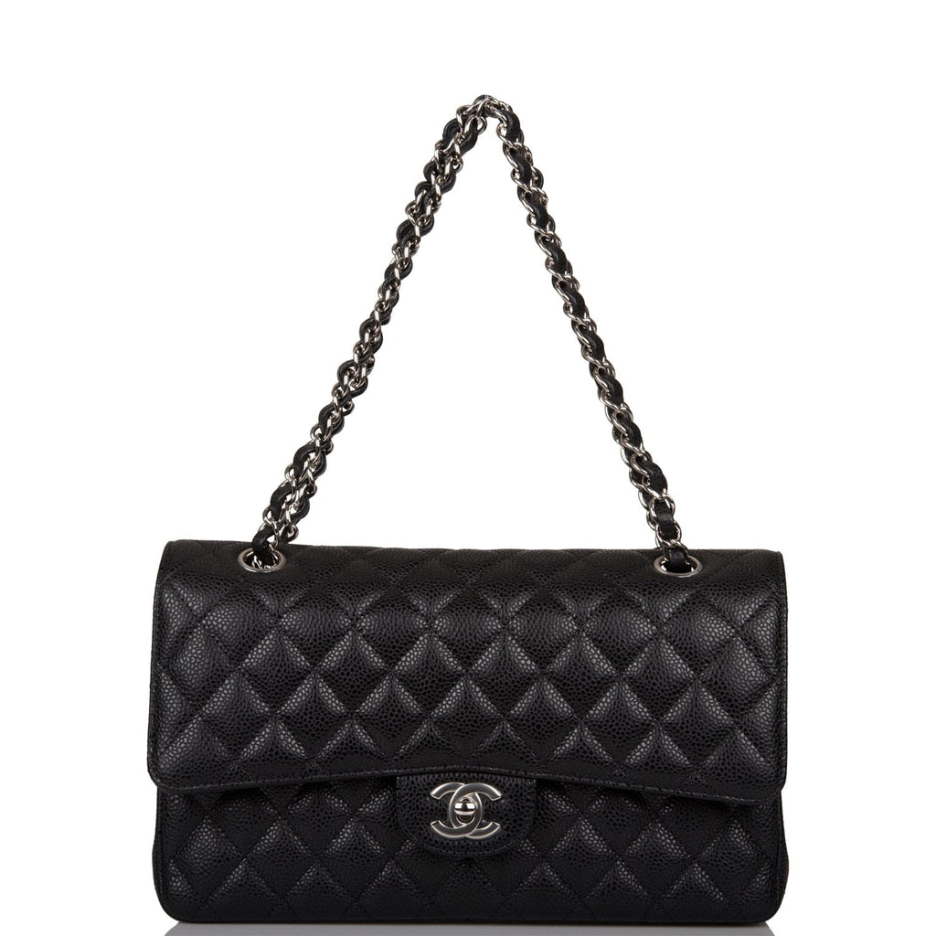Chanel Black Quilted Caviar Medium Classic Double Flap Bag Silver Hardware