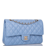 Chanel Light Blue Quilted Lambskin Medium Classic Double Flap Bag Light Gold Hardware
