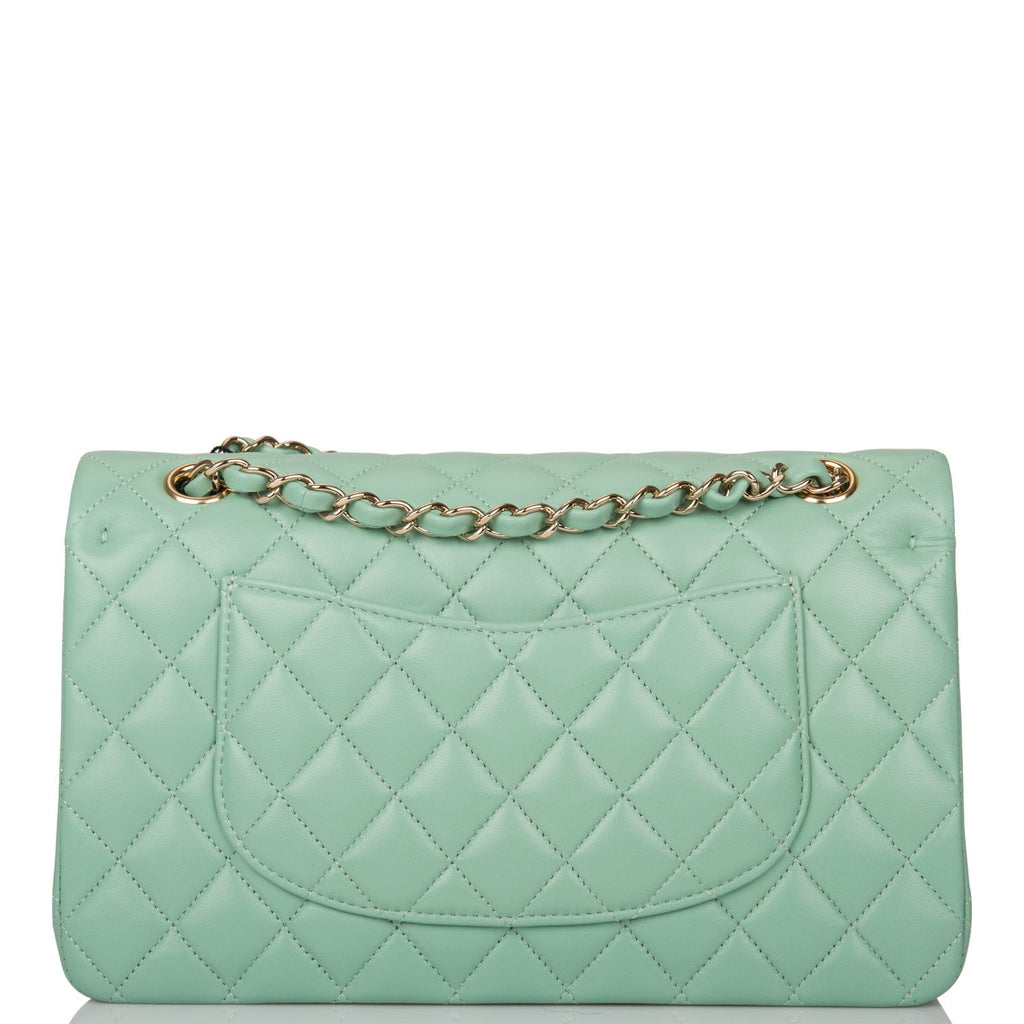 Chanel Light Green Quilted Lambskin Medium Classic Double Flap Bag Light Gold Hardware