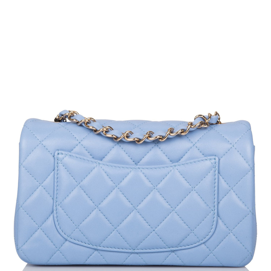 Chanel Light Blue Quilted Lambskin Rectangular Mini Classic Flap Bag Light Gold Hardware