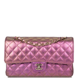 Chanel Purple Iridescent Quilted Lambskin Medium Classic Double Flap Bag Light Gold Hardware