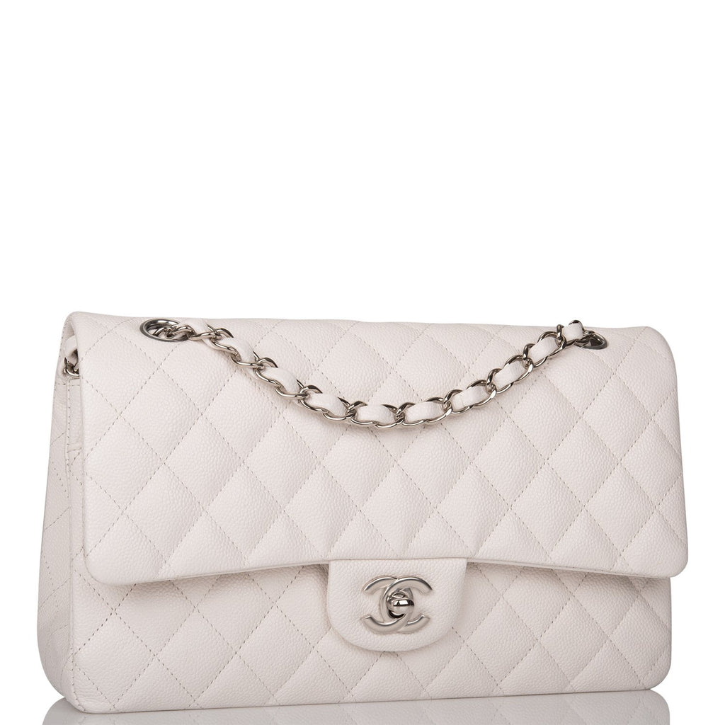Chanel White Quilted Caviar Medium Classic Double Flap Bag Silver Hardware
