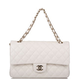 Chanel White Quilted Caviar Medium Classic Double Flap Bag Light Gold Hardware