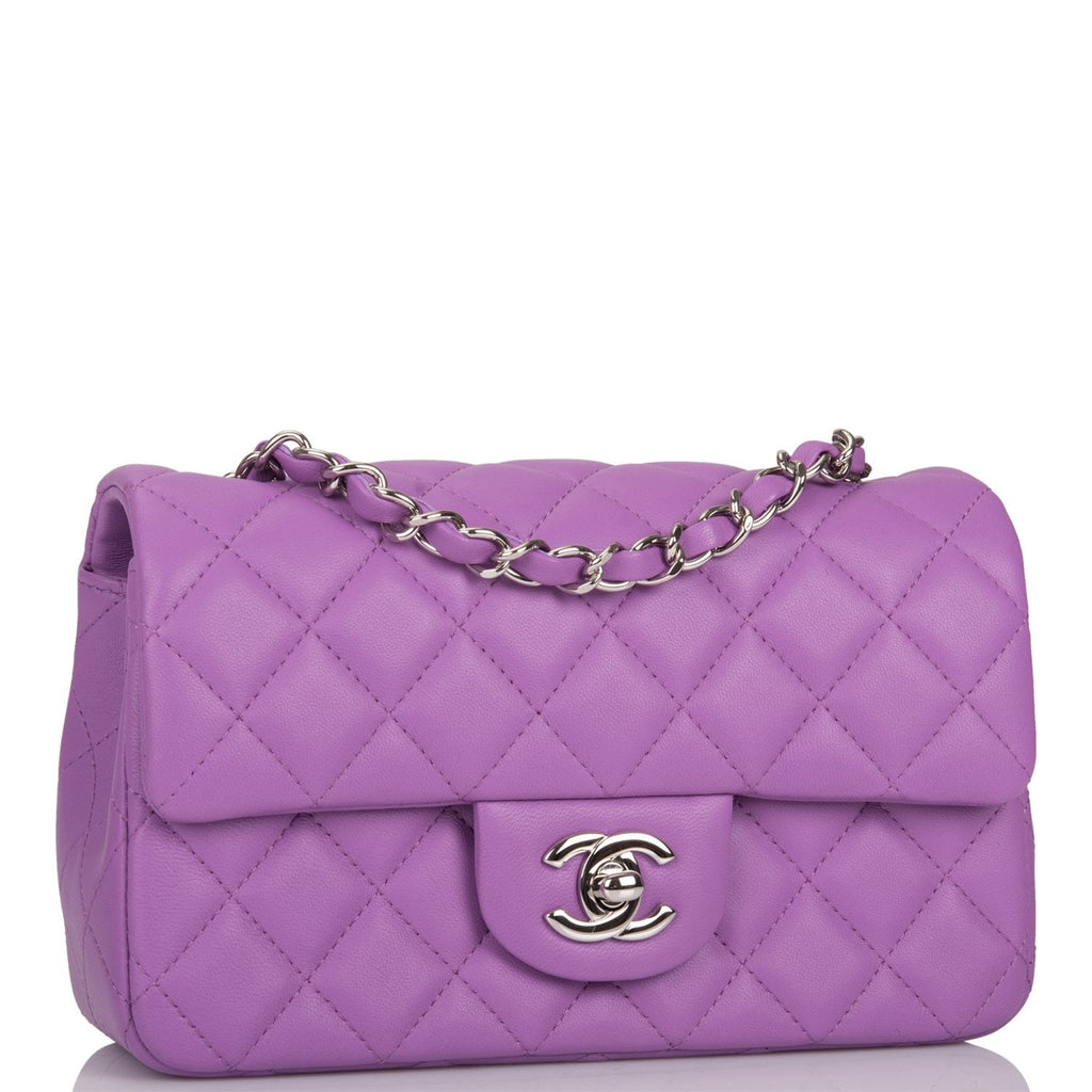 Chanel Purple Quilted Lambskin Rectangular Mini Classic Flap Bag Silver Hardware