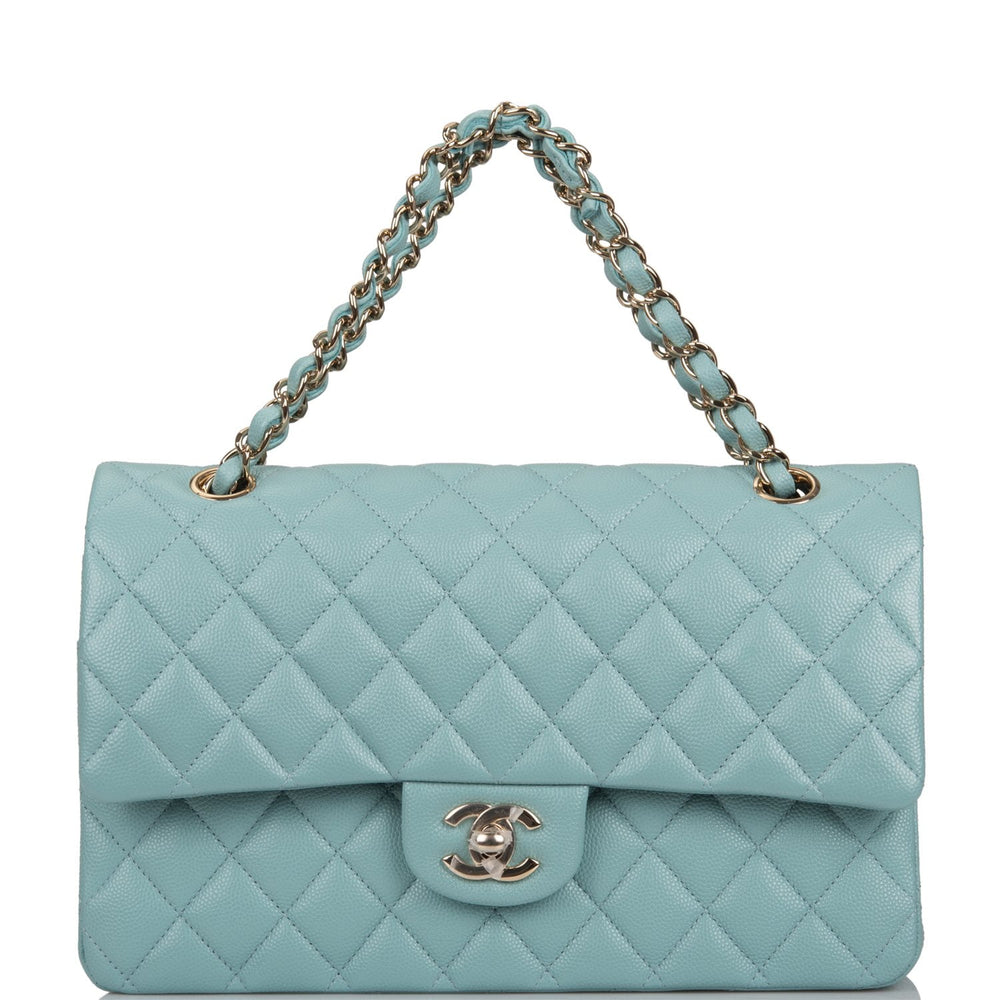 Chanel Shiny Aqua Blue Quilted Caviar Medium Classic Double Flap Bag Light Gold Hardware