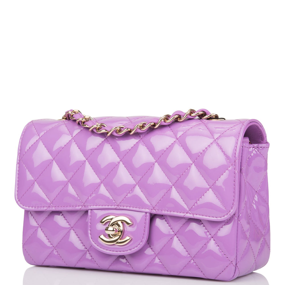 Chanel Purple Quilted Patent Rectangular Mini Classic Flap Bag Light Gold Hardware