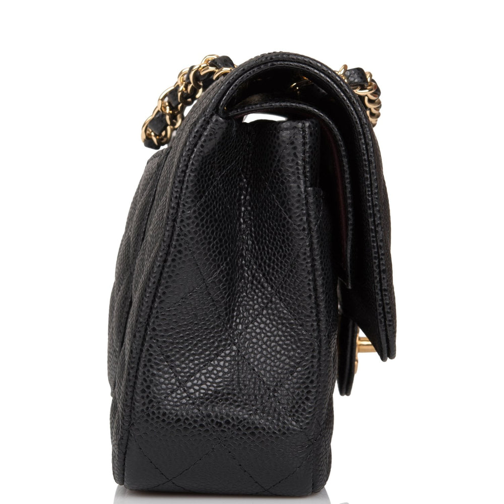 Chanel Black Quilted Caviar Medium Classic Double Flap Bag Light Gold Hardware