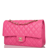 Chanel Pink Quilted Caviar Medium Classic Double Flap Bag Light Gold Hardware