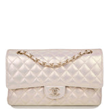 Chanel Ivory Iridescent Quilted Lambskin Medium Classic Double Flap Bag Light Gold Hardware