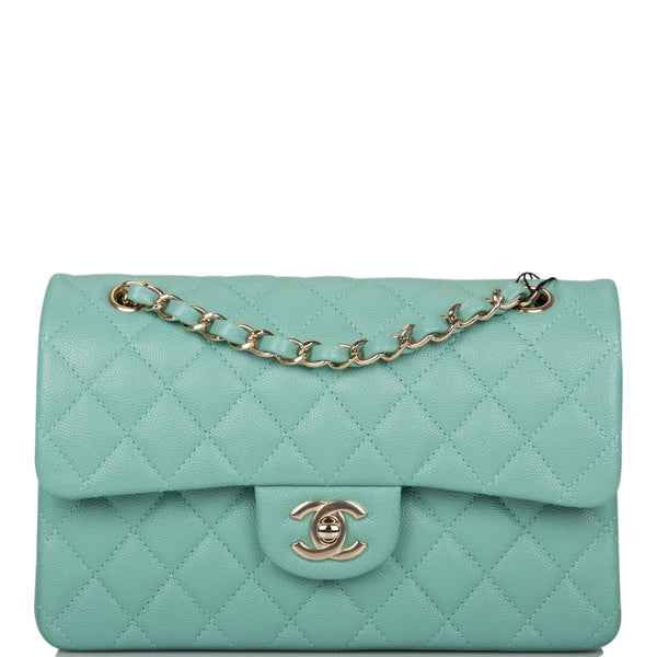 Chanel Light Green Quilted Caviar Small Classic Double Flap Bag Light Gold Hardware
