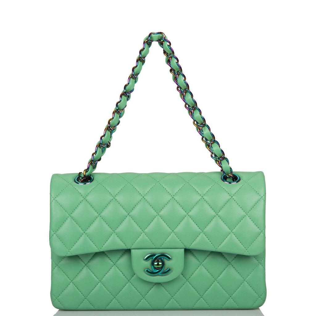 Chanel Green Quilted Lambskin Small Classic Double Flap Bag Rainbow Hardware