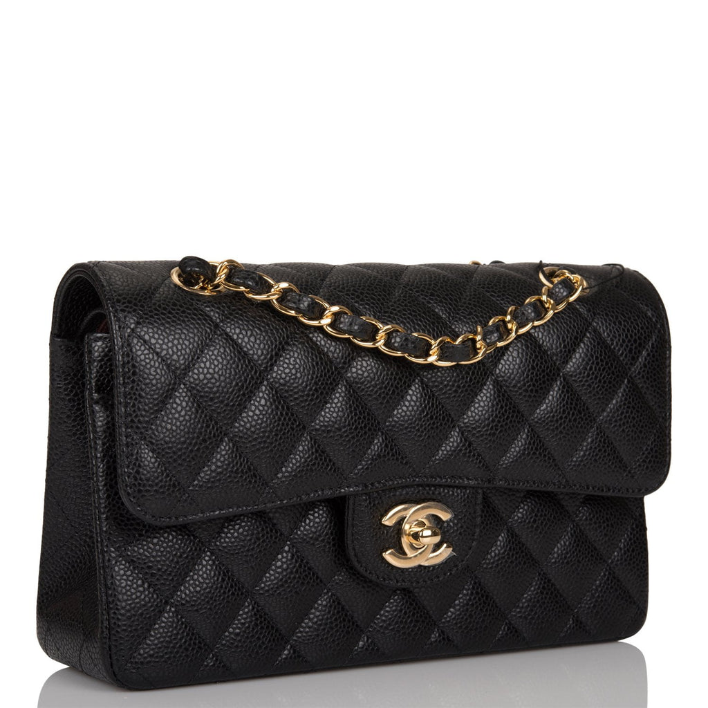 Chanel Black Quilted Caviar Small Classic Double Flap Bag Gold Hardware