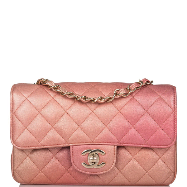 Chanel Pink Ombre Quilted Metallic Lambskin Rectangular Mini Classic Flap Bag Light Gold Hardware