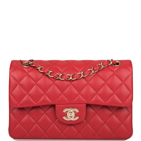 Chanel Red Quilted Lambskin Small Classic Double Flap Bag Light Gold Hardware