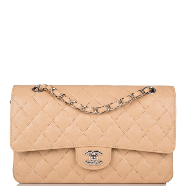 Chanel Beige Quilted Caviar Medium Classic Double Flap Bag Silver Hardware