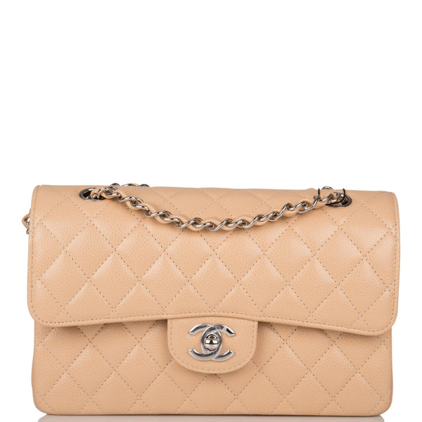 Chanel Beige Quilted Caviar Small Classic Double Flap Bag Silver Hardware