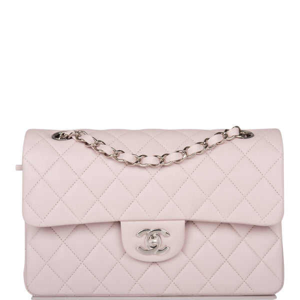 Chanel Light Purple Quilted Lambskin Small Classic Double Flap Bag Silver Hardware