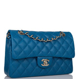 Chanel Blue Quilted Caviar Small Classic Double Flap Bag Light Gold Hardware