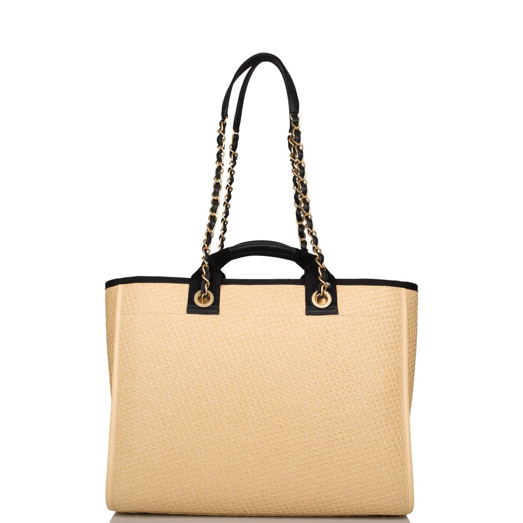 Chanel Beige and Black Straw Large Deauville Tote Antique Gold Hardware