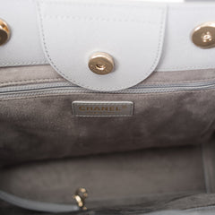 Chanel Grey Caviar Leather Medium Deauville Tote Gold Hardware