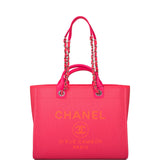 Chanel Neon Pink and Orange Mixed Fibers Large Deauville Shopping Bag Silver Hardware