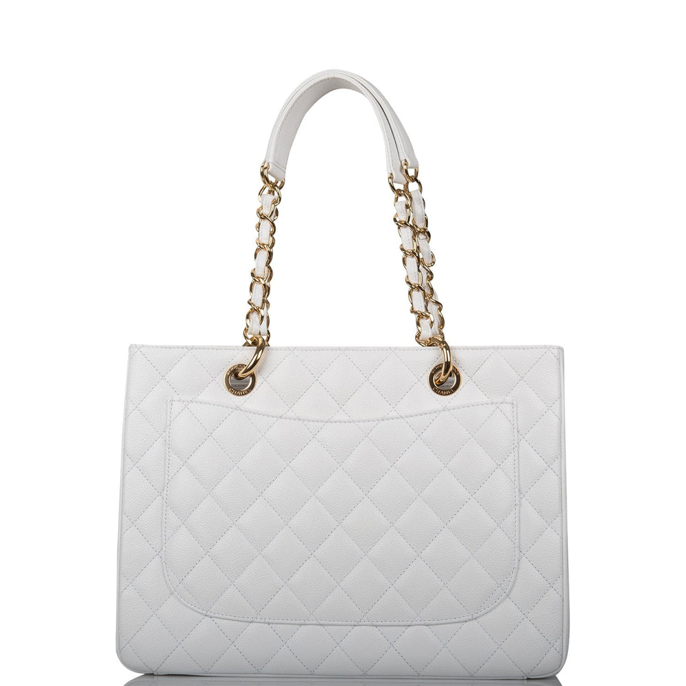 Chanel White Caviar Grand Shopping Tote (GST) Gold Hardware (Preloved - Excellent)