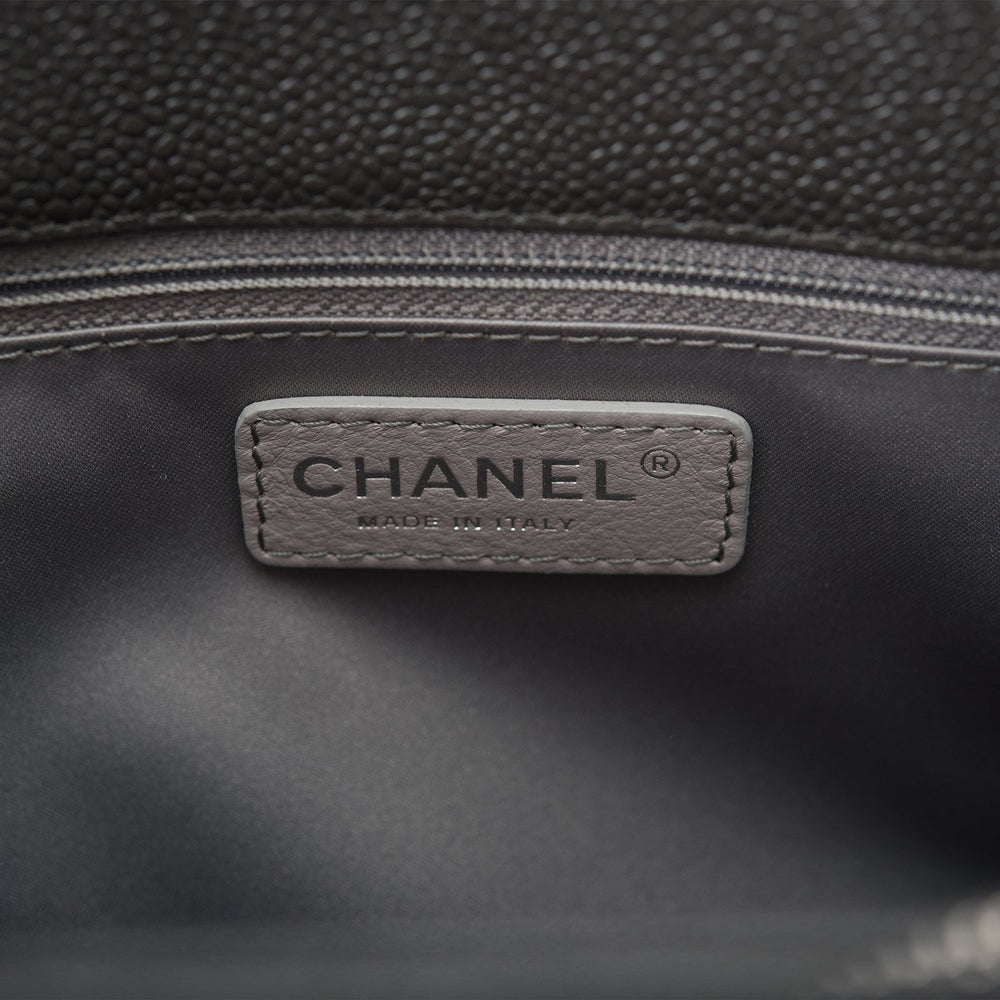 Chanel Dark Grey Caviar Grand Shopping Tote (GST) Silver Hardware