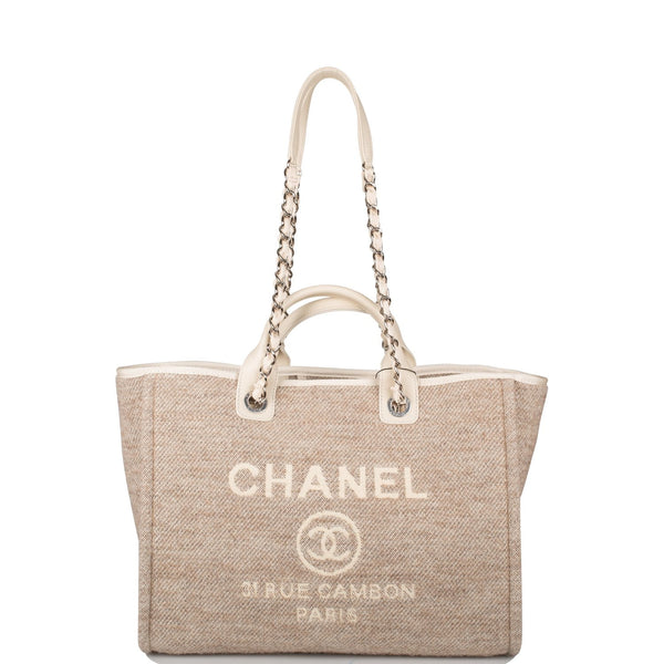 Chanel Beige Wool Large Deauville Shopping Bag Silver Hardware