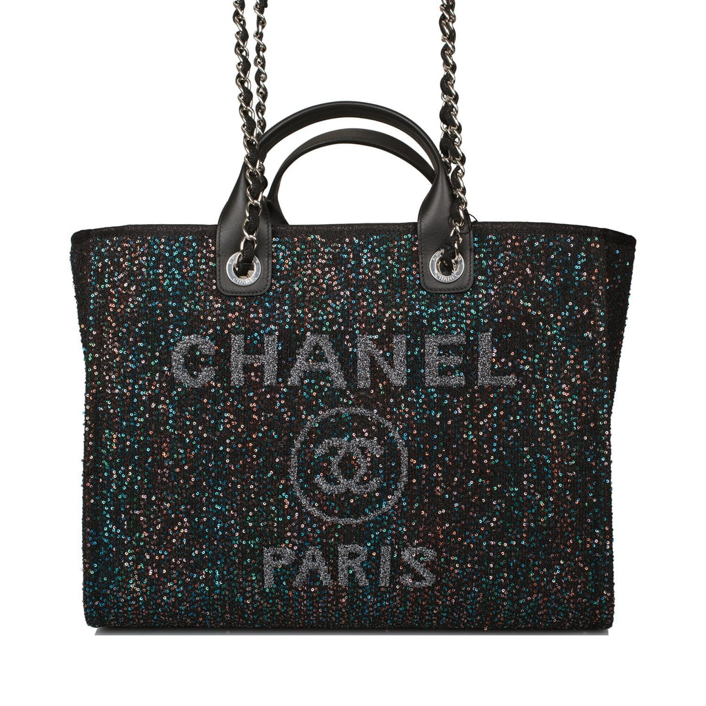 Chanel Black Canvas and Sequins Large Deauville Shopping Bag Silver Hardware