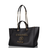 Chanel Black Caviar Leather Large Deauville Tote Gold Hardware