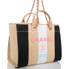 Chanel Multicolor Viscose Large Deauville Shopping Tote Light Gold Hardware