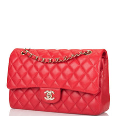 Chanel Red Quilted Caviar Medium Classic Double Flap Bag