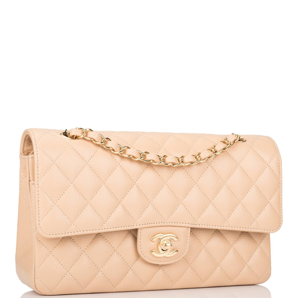 Chanel Beige Quilted Caviar Medium Classic Double Flap Bag Light Gold Hardware